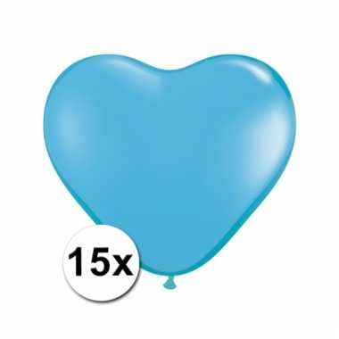 Kleine lichtblauwe hartjes ballonnen 15 stuks