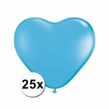 Kleine lichtblauwe hartjes ballonnen 25 stuks