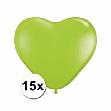 Kleine lime hartjes ballonnen 15 stuks