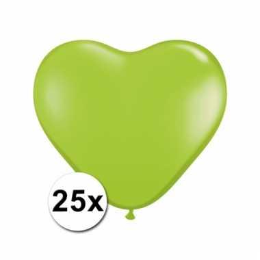 Kleine lime hartjes ballonnen 25 stuks