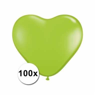 Kleine limegroene hartjes ballonnen doorzichtig 100 stuks