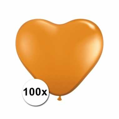 Kleine oranje hartjes ballonnen 100 stuks