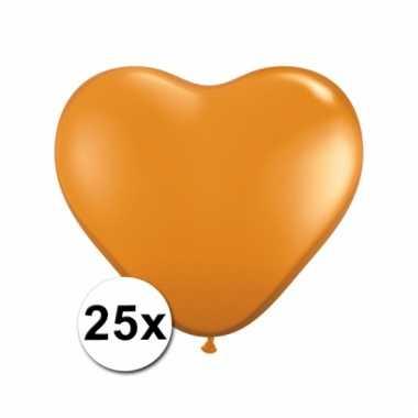 Kleine oranje hartjes ballonnen 25 stuks