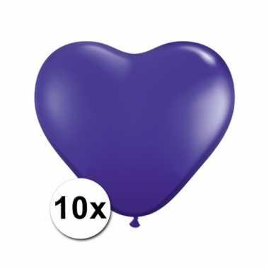 Kleine paarse hartjes ballonnen 10 stuks