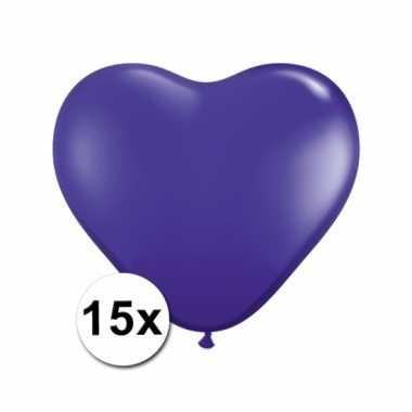 Kleine paarse hartjes ballonnen 15 stuks