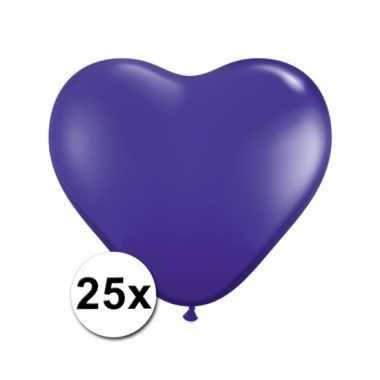 Kleine paarse hartjes ballonnen 25 stuks