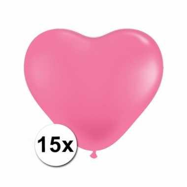 Kleine roze hartjes ballonnen 15 stuks