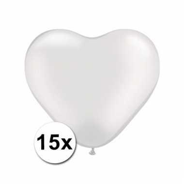Kleine witte hartjes ballonnen 15 stuks