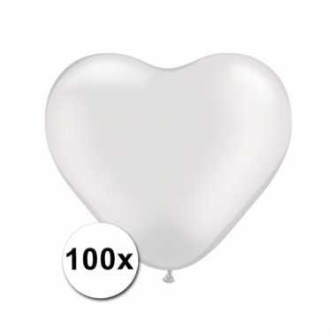 Kleine witte hartjes ballonnen doorzichtig 100 stuks