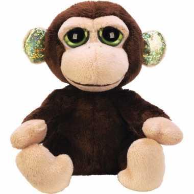 Knuffel aapjes met grote groene ogen 12 cm