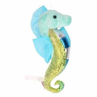 Knuffel blauw zeepaardje met glitters 25 cm
