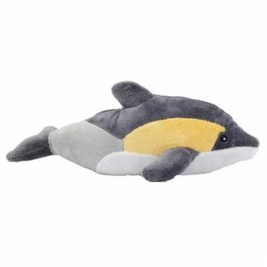 Knuffel dolfijn knuffeltje geel/grijs 25 cm
