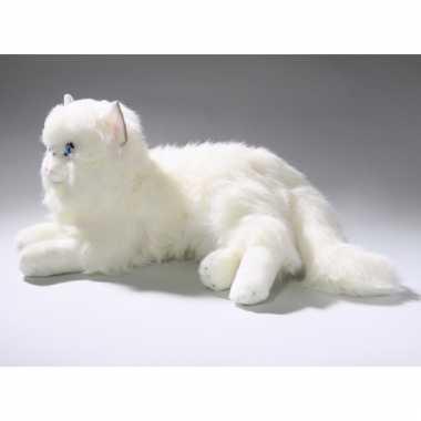 Knuffel liggende witte kat 35 cm