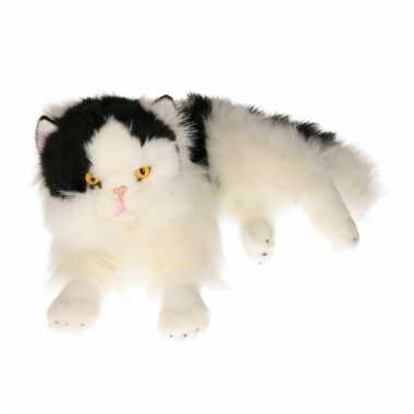 Knuffel liggende zwart/witte kat 35 cm