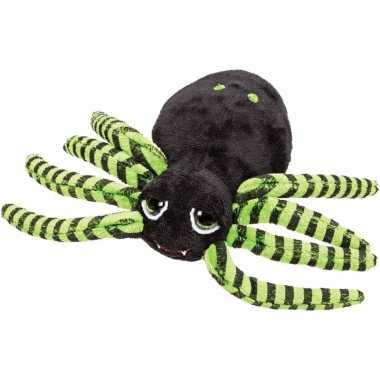 Knuffel spinnetje zwart/groen 14 cm