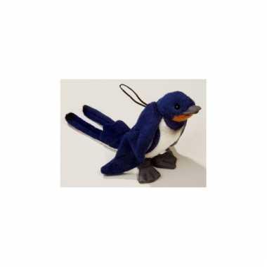 Knuffeldier blauwe boeren zwaluw 20 cm