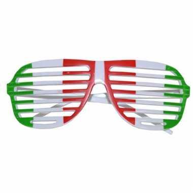 Lamellen bril met italiaanse vlag print