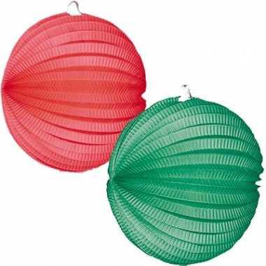 Lampions in groen en rood 4x