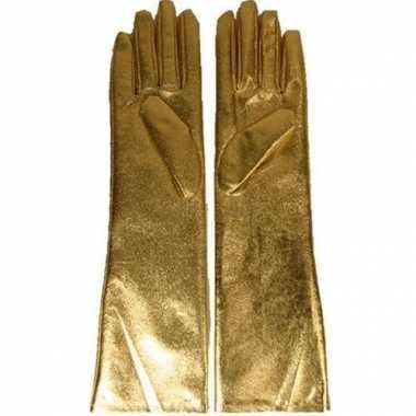 Lange handschoenen goud dames