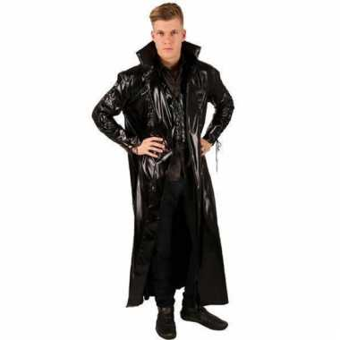 Leather look jas zwart