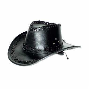 Lederlook cowboyhoeden zwart voor volwassenen