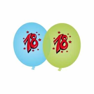 Leeftijd ballonnen 18 jaar blauw en groen