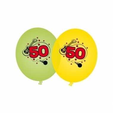 Leeftijd ballonnen 50 jaar groen en geel
