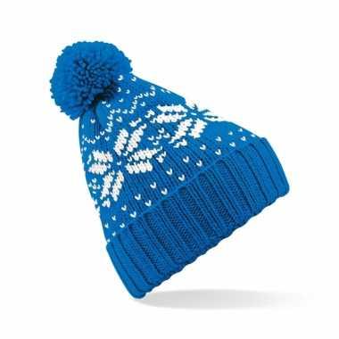 Lekker warme ijsblauwe muts snowstar