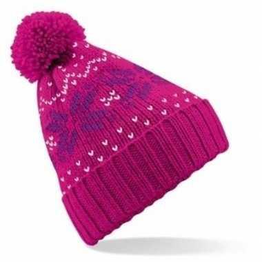 Lekker warme roze muts snowstar