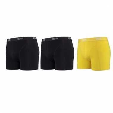 Lemon and soda mannen boxers 2x zwart 1x geel 2xl
