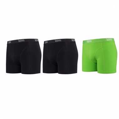 Lemon and soda mannen boxers 2x zwart 1x groen m