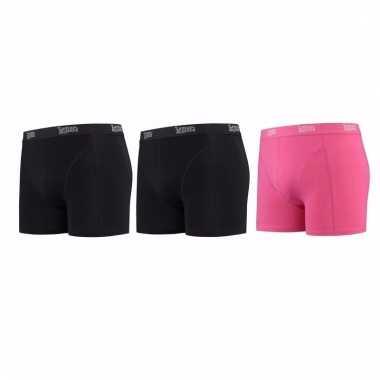 Lemon and soda mannen boxers 2x zwart 1x roze l