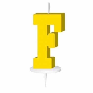 Letter kaarsen geel f