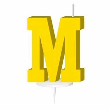 Letter kaarsen geel m