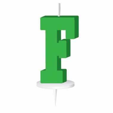 Letter kaarsen groen f