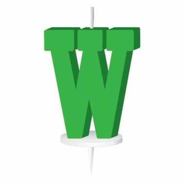 Letter kaarsen groen w