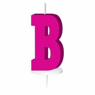 Letter kaarsen roze b