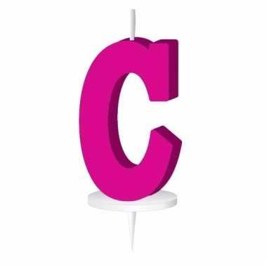 Letter kaarsen roze c