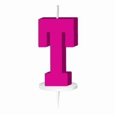 Letter kaarsen roze t