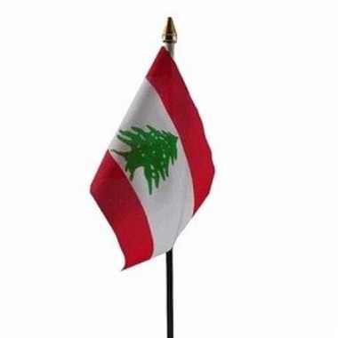 Libanon luxe zwaaivlaggetje polyester