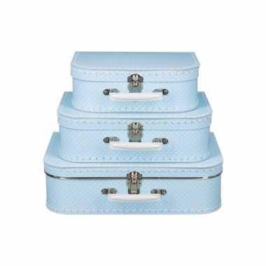 Licht blauw koffertje met witte stipjes 30 cm