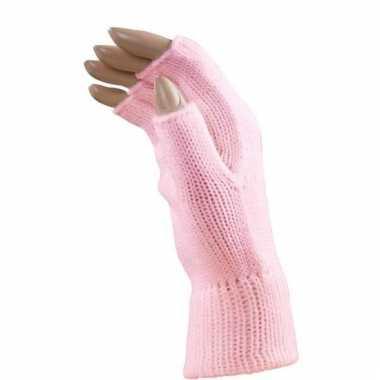 Licht roze handschoenen vingerloos voor volwassenen