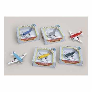 Lichtblauw metalen speelgoed vliegtuig 15 cm