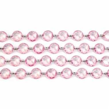Lichtroze slinger met kristalletjes