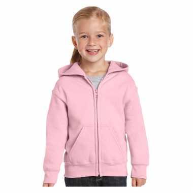 Lichtroze sweatshirt met rits voor meiden