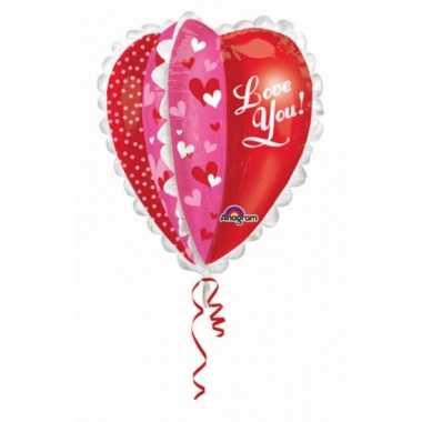 Liefde folie ballon love you gevuld met helium 76 cm