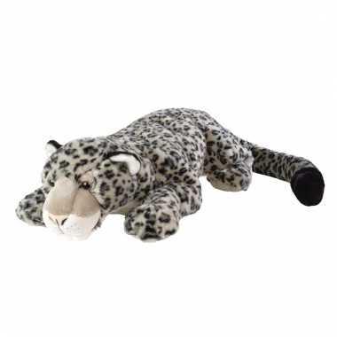 Liggende knuffel sneeuw luipaard 76 cm