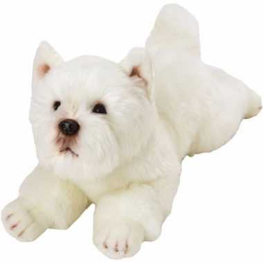 Liggende west highland terrier knuffel 33 cm