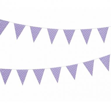 Lila feest vlaggenlijn met witte stippen 4 m