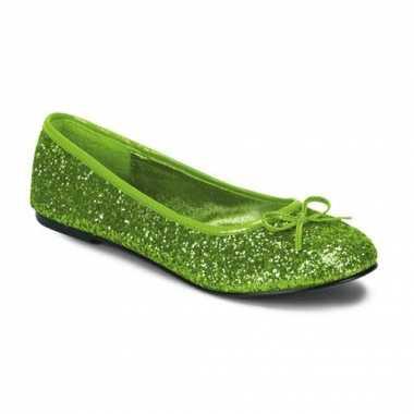 Lime groene ballerina schoenen met glitters